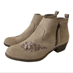 Arizona Faux Suede Embroidered Gilmore Ankle Boots